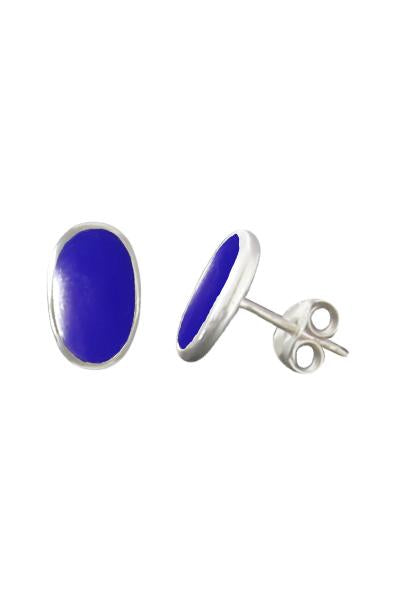 Lapis Lazuli Silver Oval Stud Earrings / Nina B Jewellery