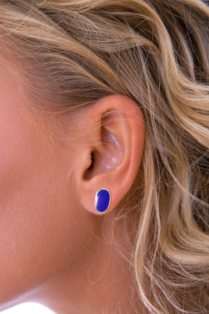 Silver Lapis Lazuli Oval Stud Earrings