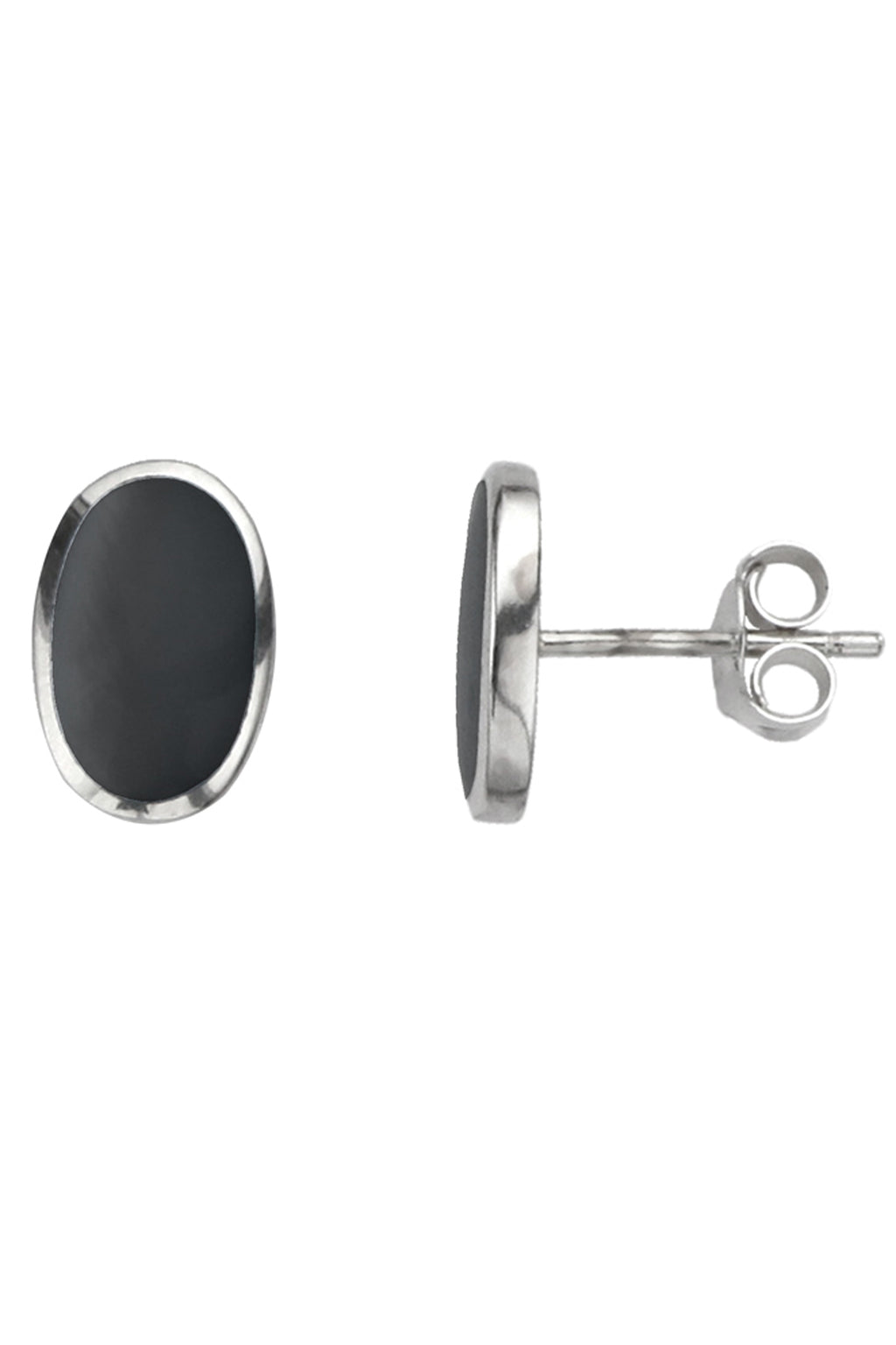 Silver Oval Onyx Stud Earrings / Nina B Jewellery