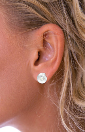 Freshwater Pearl in Shell Silver Stud Earrings
