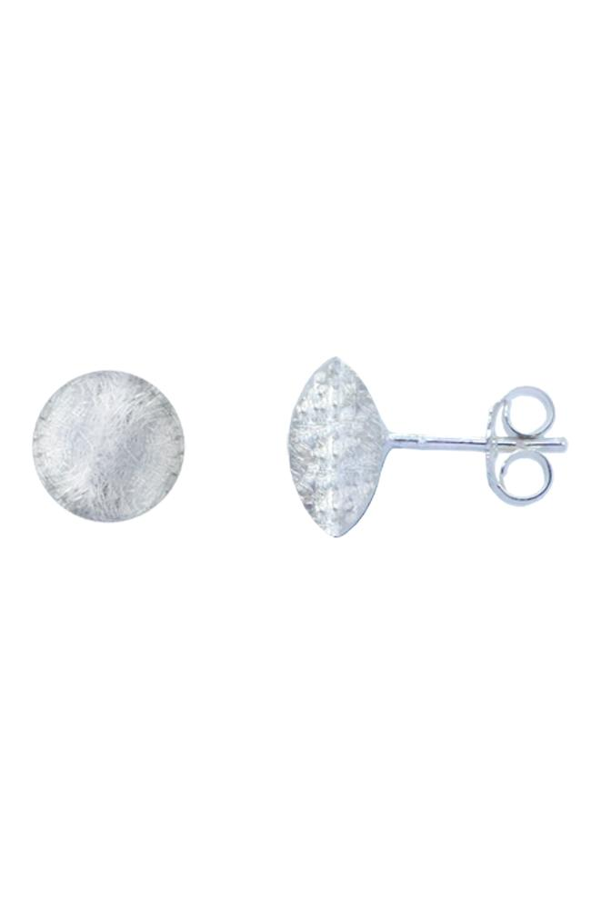 Silver Round Brushed Stud Earrings