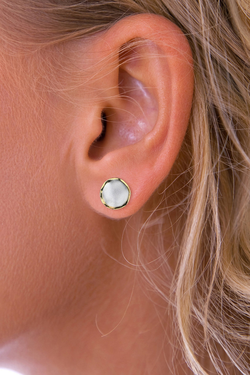 Silver Round Brushed Stud Earrings with Gold Edging