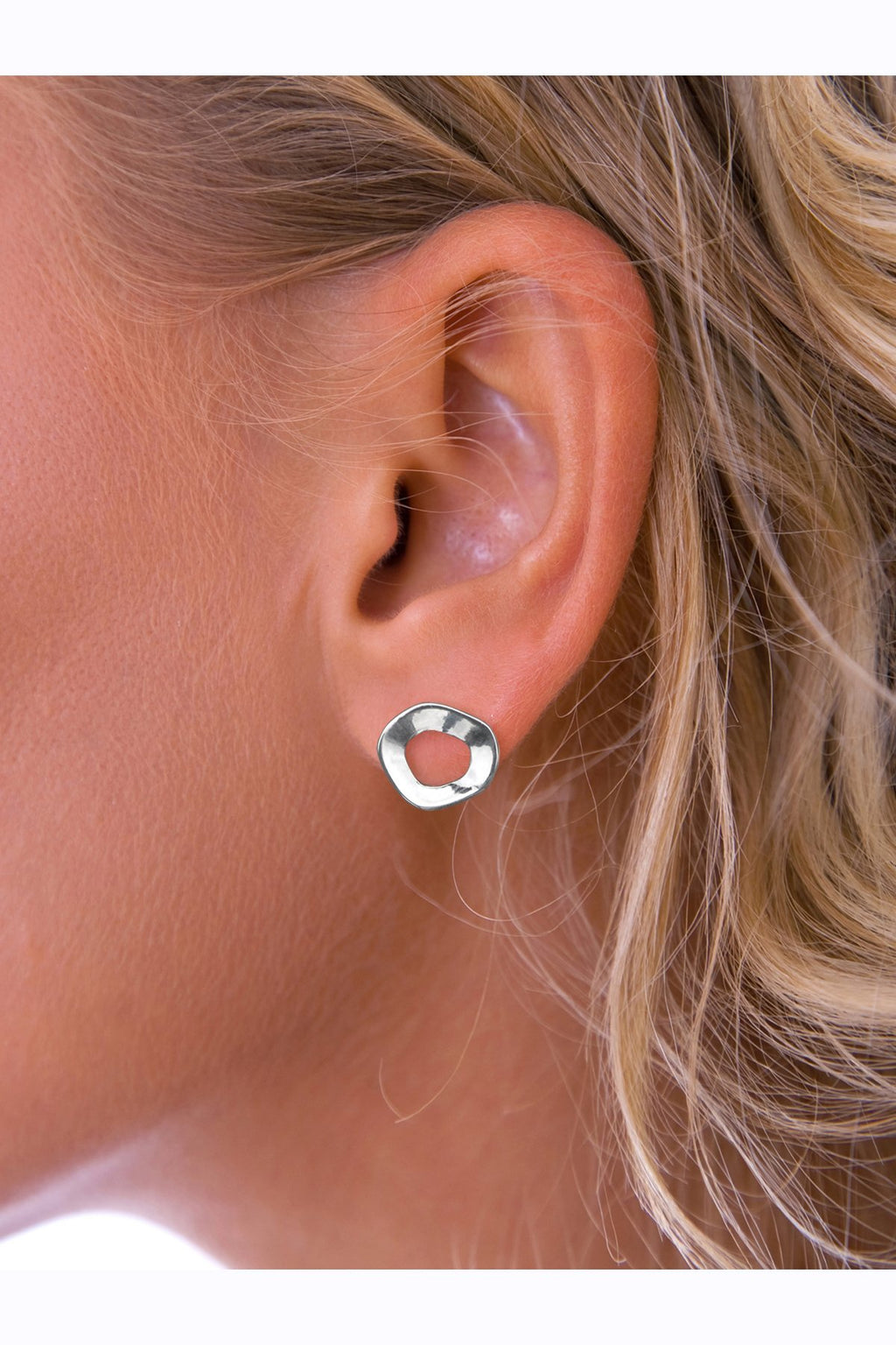 Distorted Loop Silver Stud Earrings