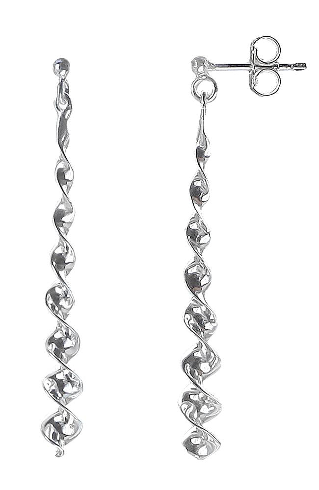 Silver Spiral Twist Drop Earrings / Nina B Jewellery