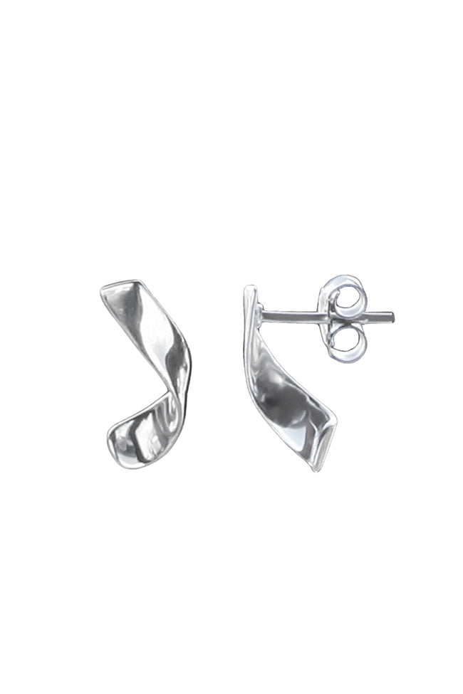 Silver Short Curl Earrings
