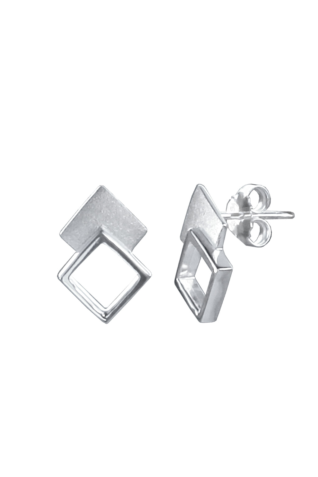 Silver Double Stud Earrings
