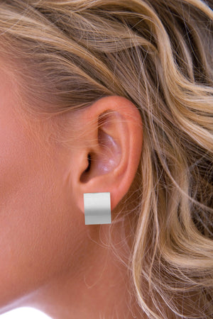 Silver Satin Rectangle Earrings