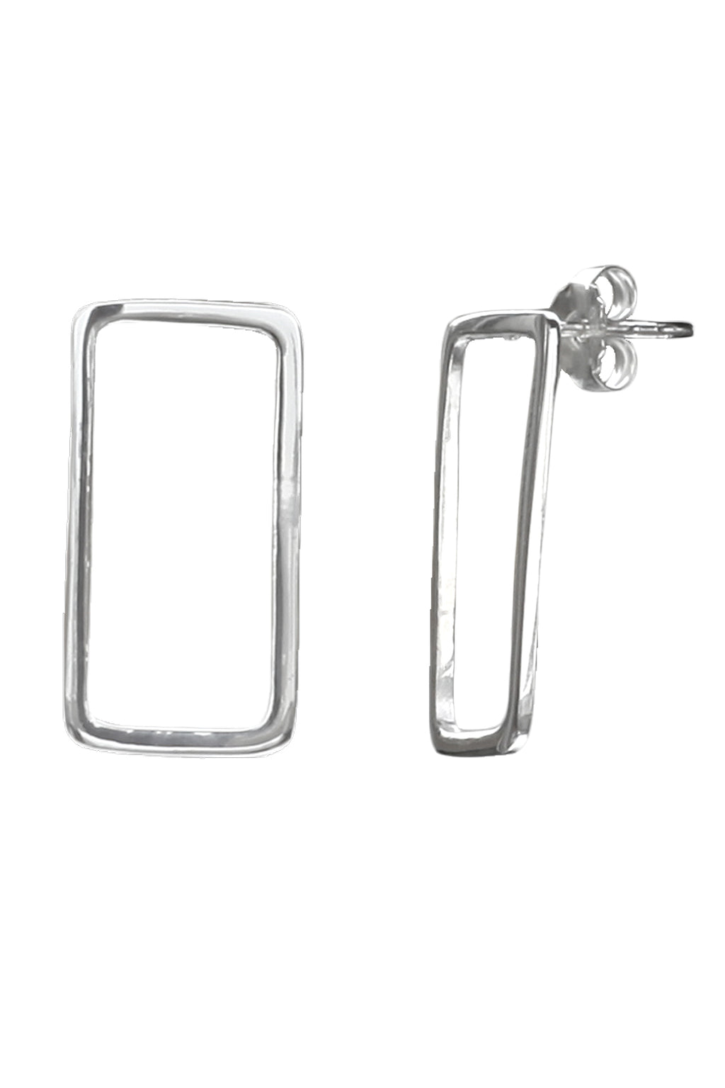 Silver Rectangular Hoop Earrings