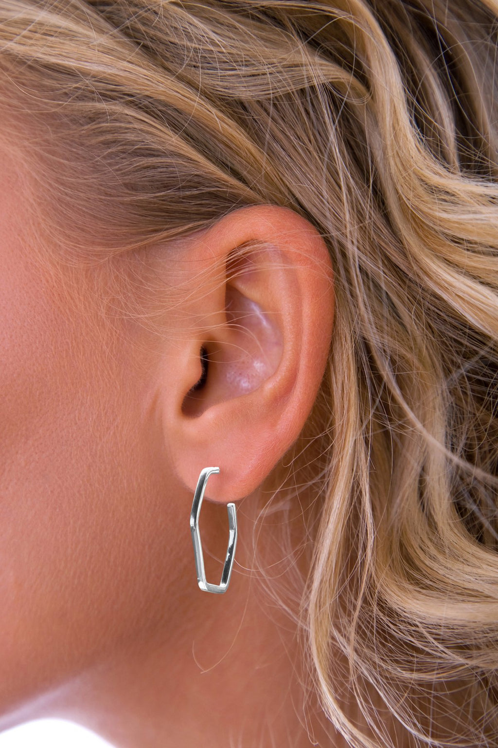 Silver Hexagonal Hoop Earrings