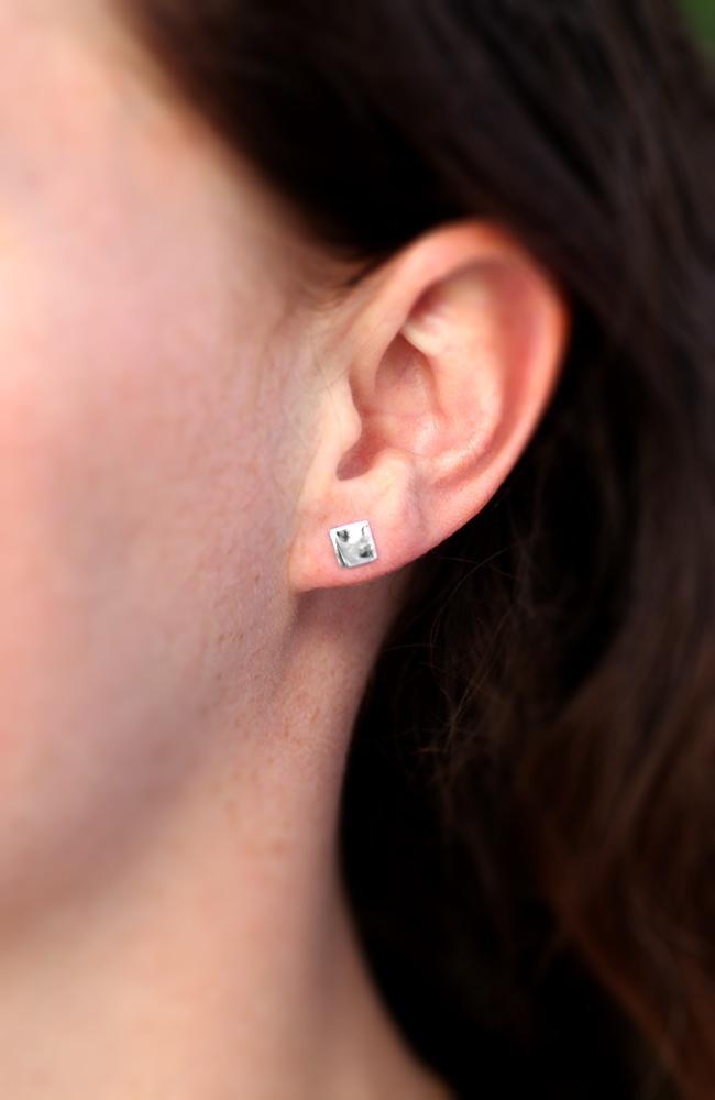 Silver Crinkled Square Stud Earrings