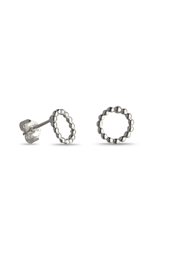 Silver Circle of Dots Stud Earrings