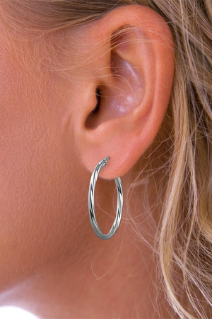 Silver Large twisted hoop earrings