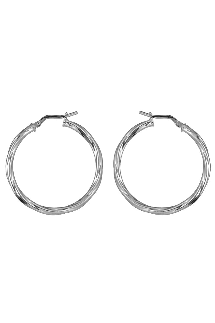 Silver twist hoop earrings / Nina B Jewellery