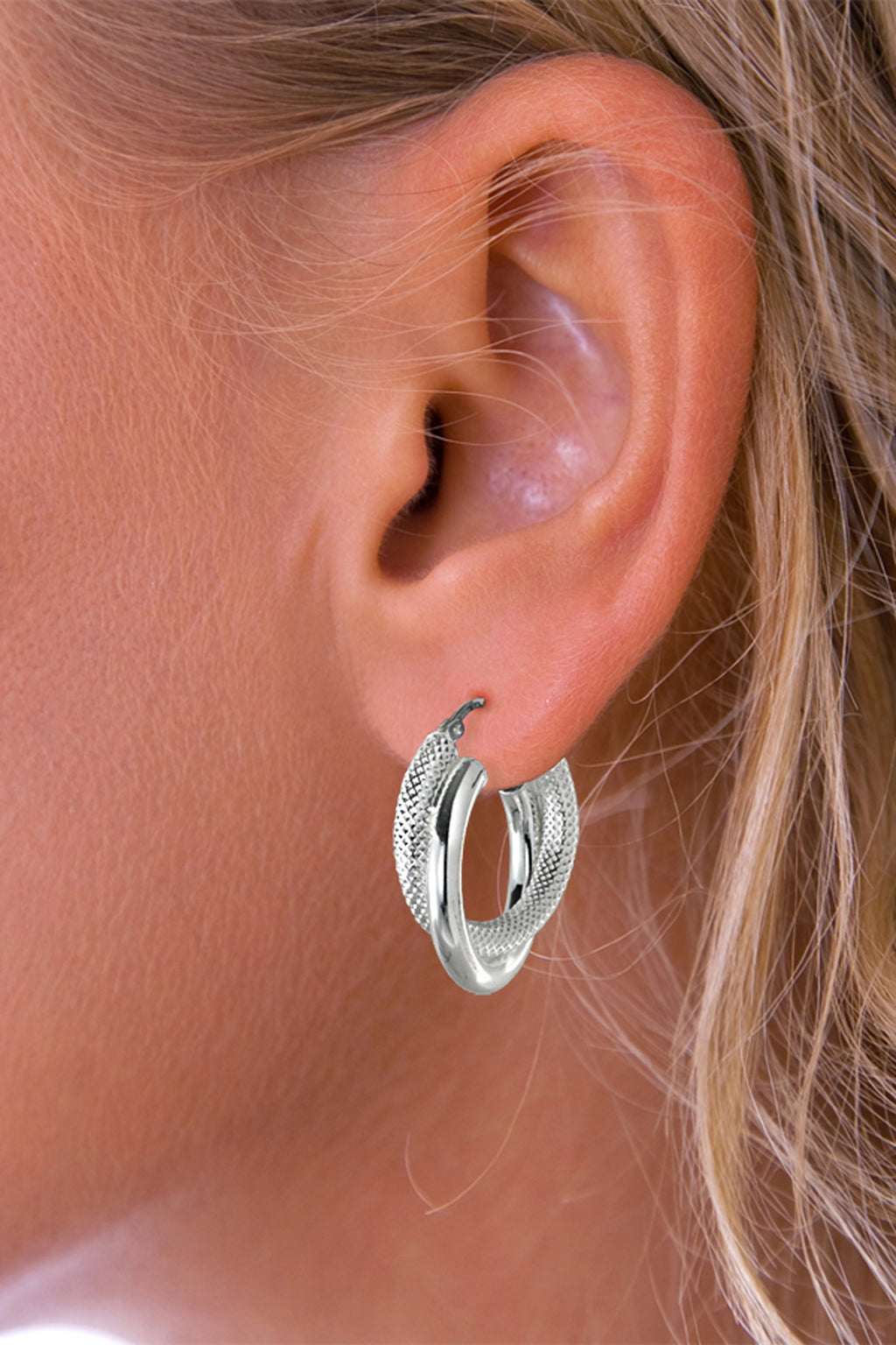 Silver Double Hoop Alternate Finish Earrings