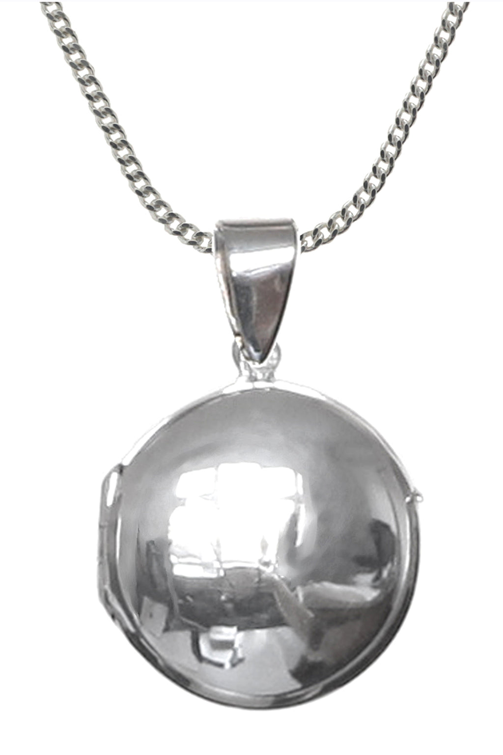 Round Silver Locket & Chain
