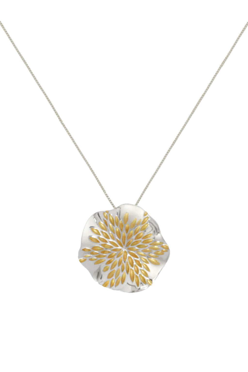 Silver Pendant with Golden Petals