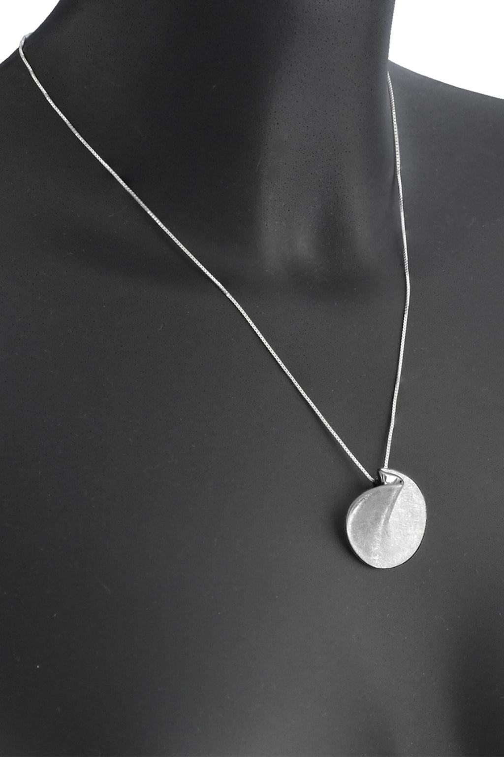 Sterling Silver Round Fold Pendant & Chain