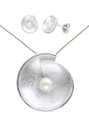Freshwater Pearl in Shell Silver Earrings & Pendant