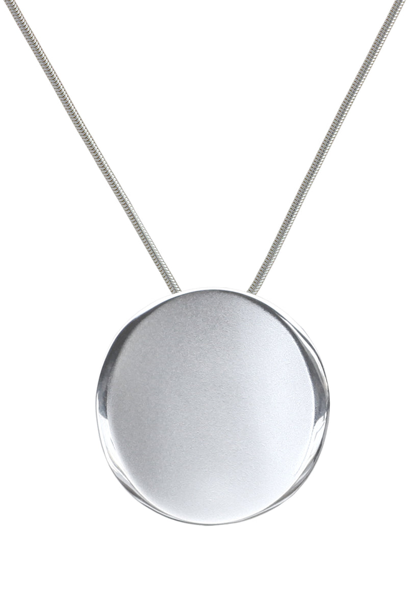 Brushed Silver Round Pendant & Chain