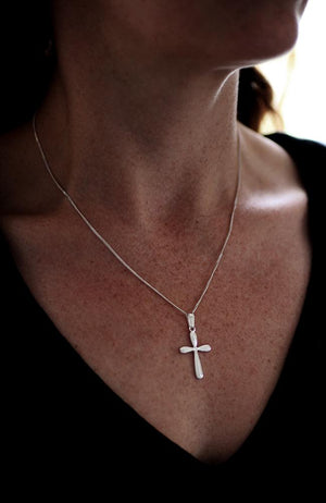 Silver Rounded Cross Pendant