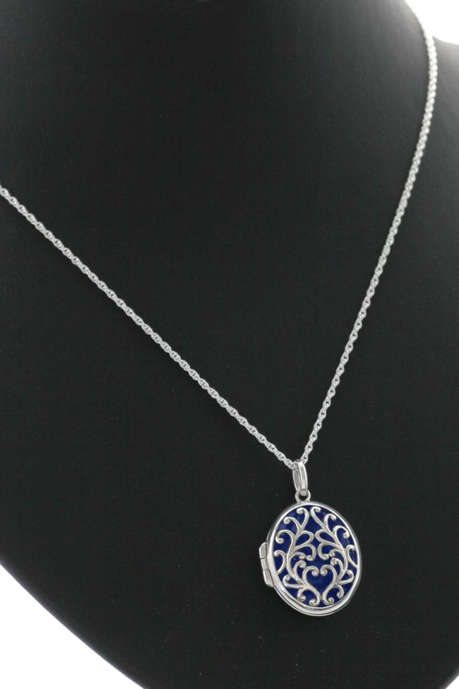 Sterling Silver Open Lattice Locket & Chain