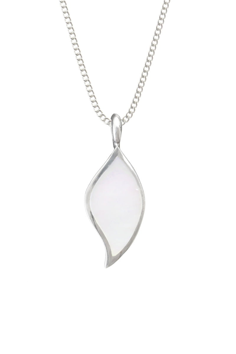 Silver Mother of Pearl soft leaf pendant