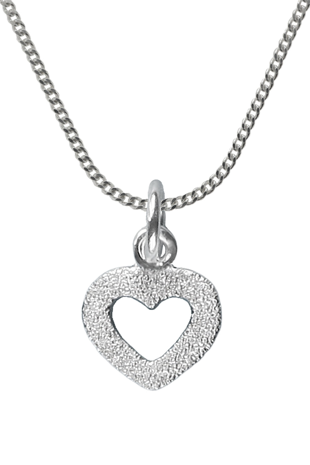 Silver Brushed Heart Pendant