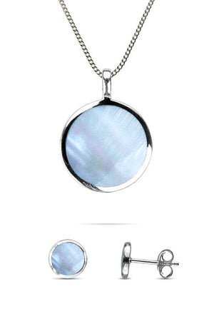 Blue Mother of Pearl Round Pendant