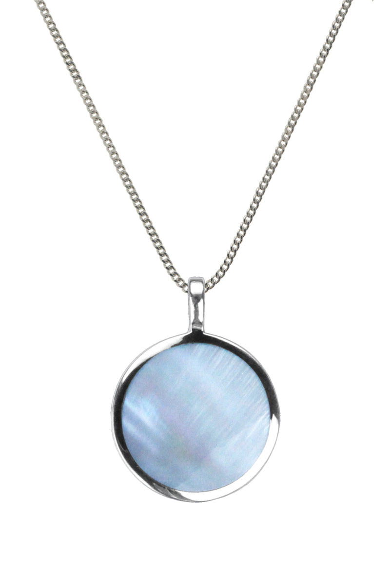 Blue Mother of Pearl Silver Pendant | Nina B Jewellery