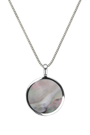 Grey Mother of Pearl Silver Pendant | Nina B Jewellery