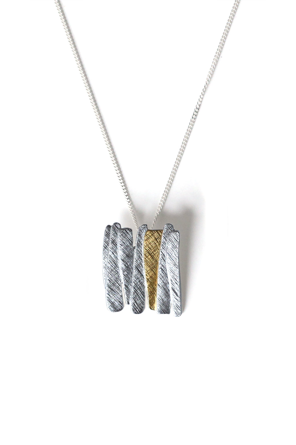 Silver & Gold Plated Bar Pendant