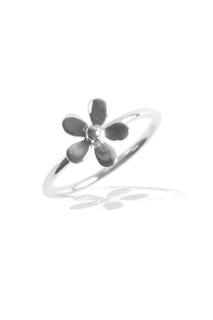 Silver Polished Daisy Ring
