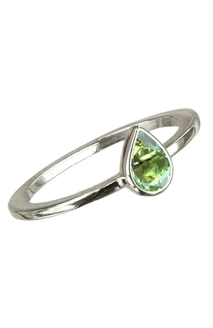 Silver Pear-shaped Precious Stone Ring