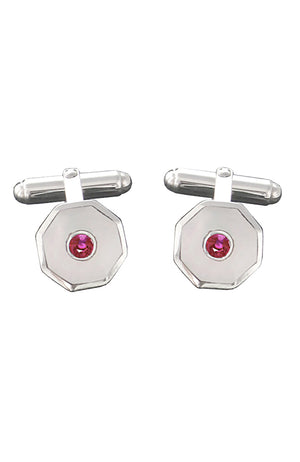 Ruby and Mother-of-Pearl Cufflinks