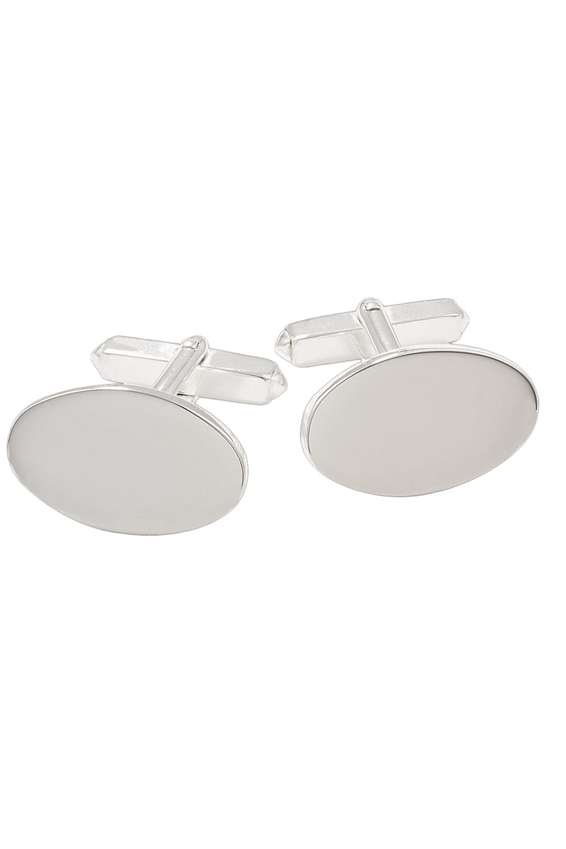Sterling Silver Plain Oval Cufflinks on Swivels