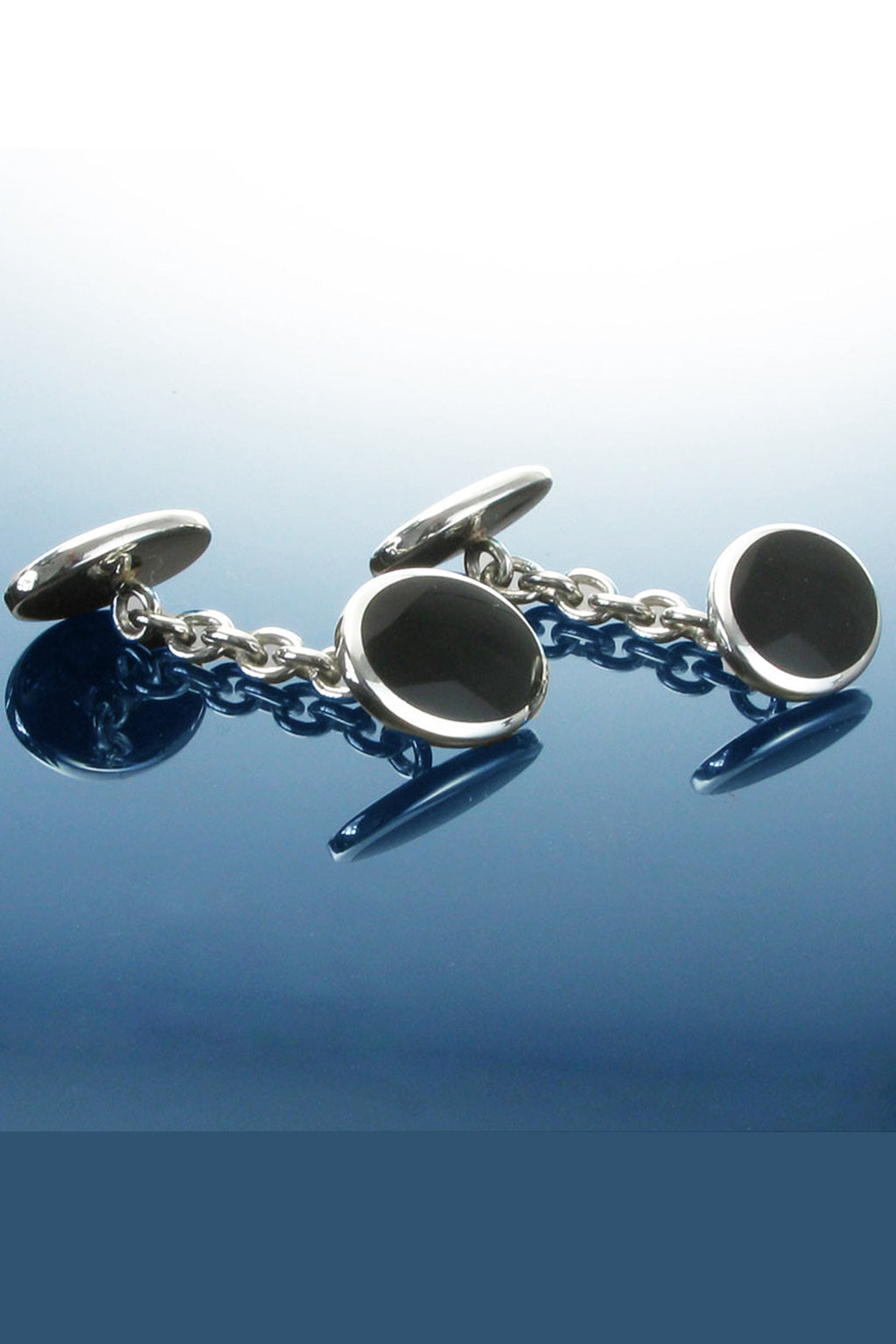 Silver Double Ended Oval Cufflinks