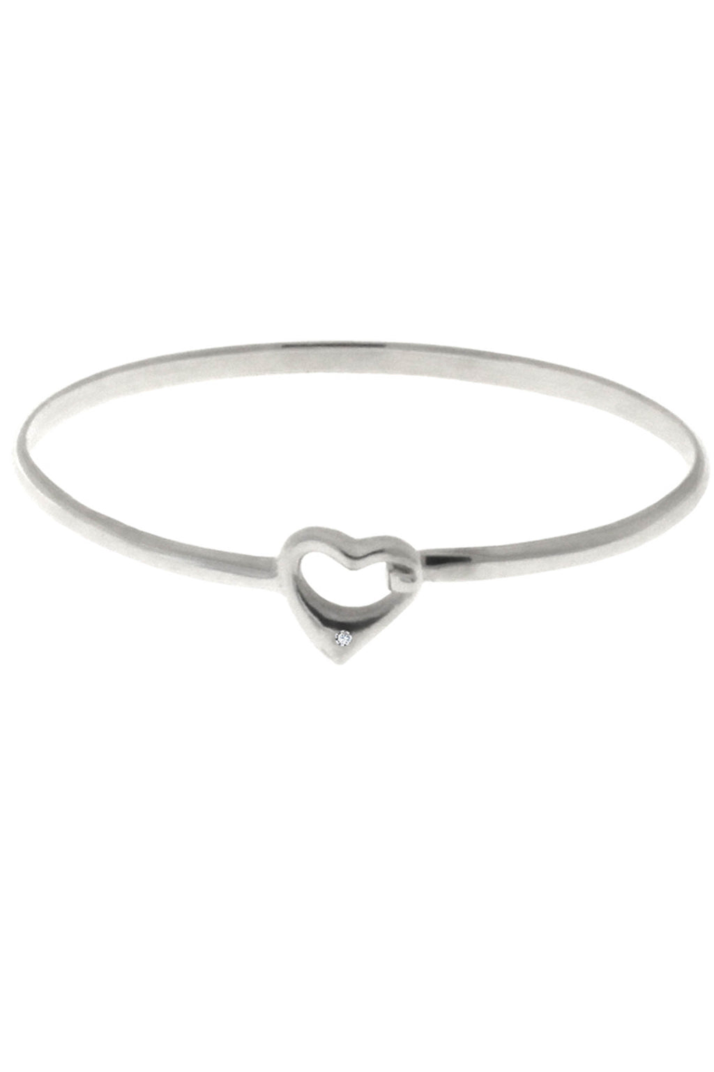 Diamond Heart Silver bangle