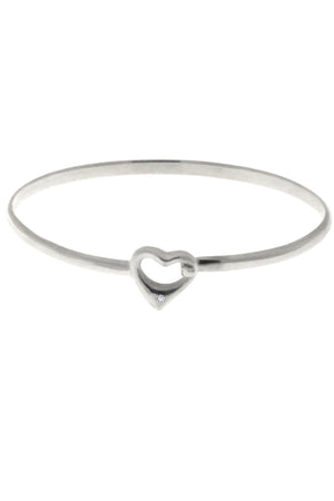 Diamond Heart Silver bangle / Nina B Jewellery