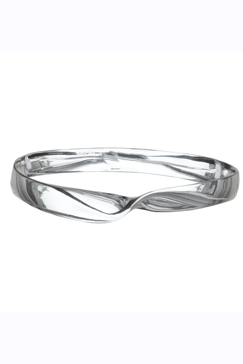 Solid Silver flat single twist bangle