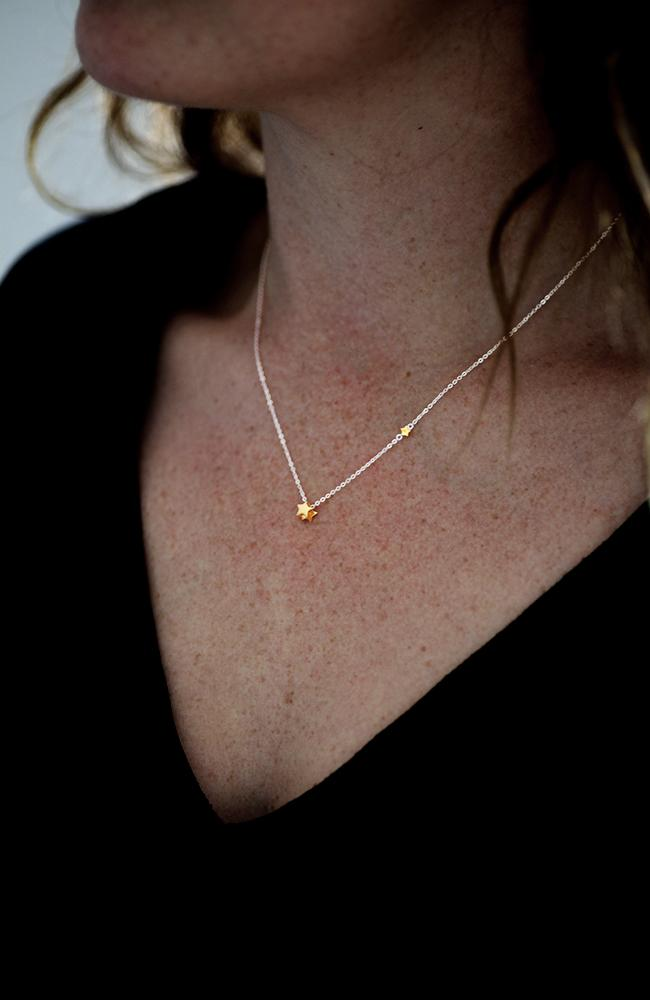 Silver Necklet with Gold Stars