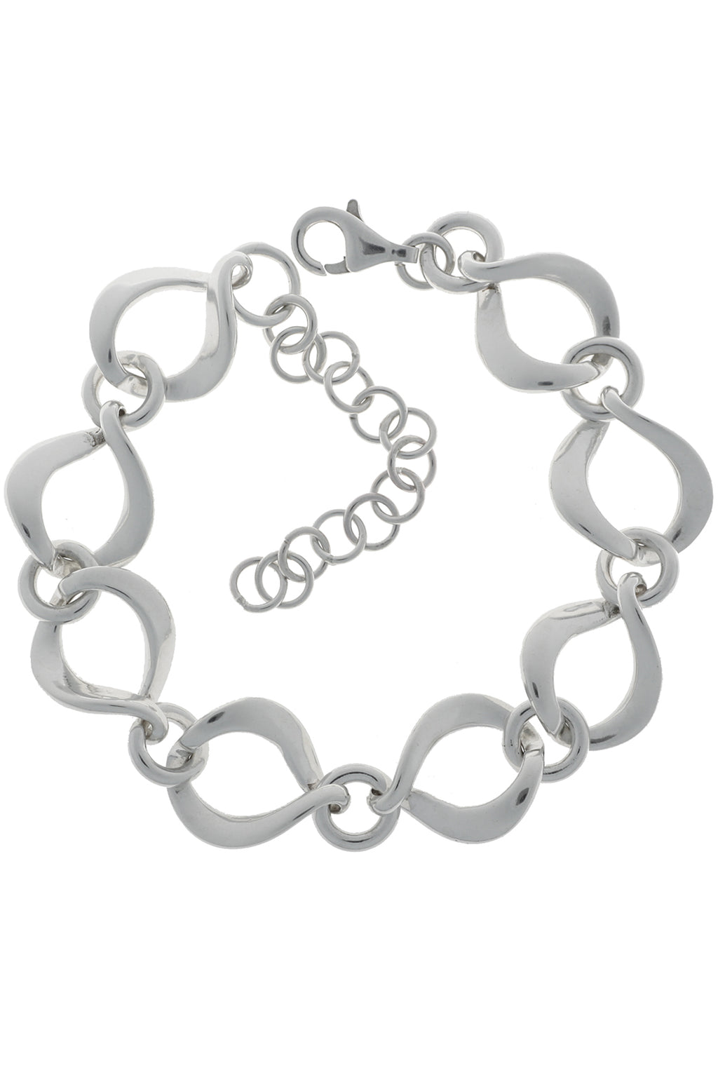 Silver Chunky Chain Twisted Open Link Bracelet