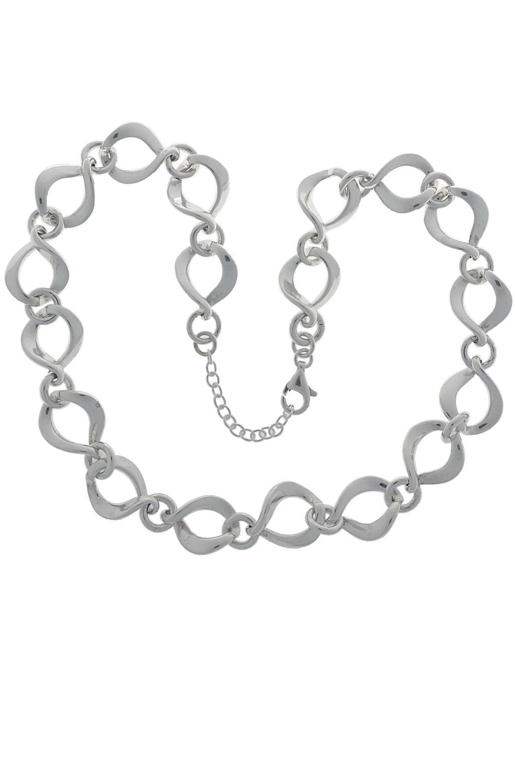 Silver Chunky Chain Twisted Open Link Necklace