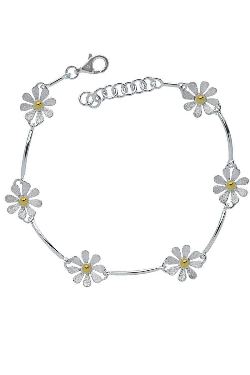 Brushed Daisy Chain Silver Bracelet