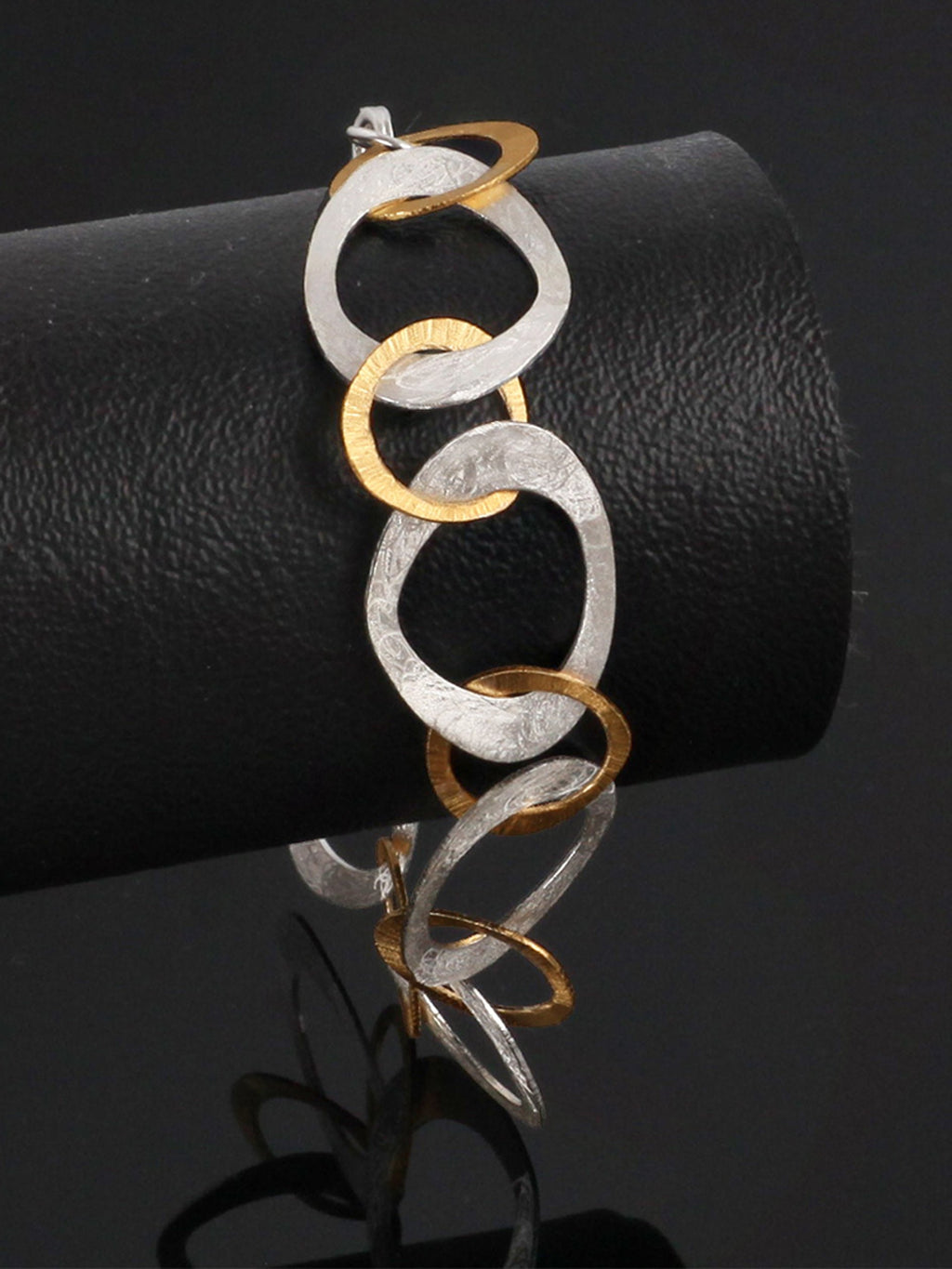 Brushed Silver Bracelet with Gold-Plated Links