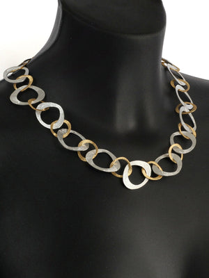 Silver and Gold Open Link Necklace