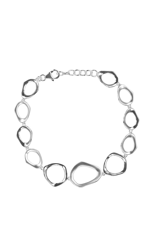 Distorted Open Twist Link Silver Bracelet