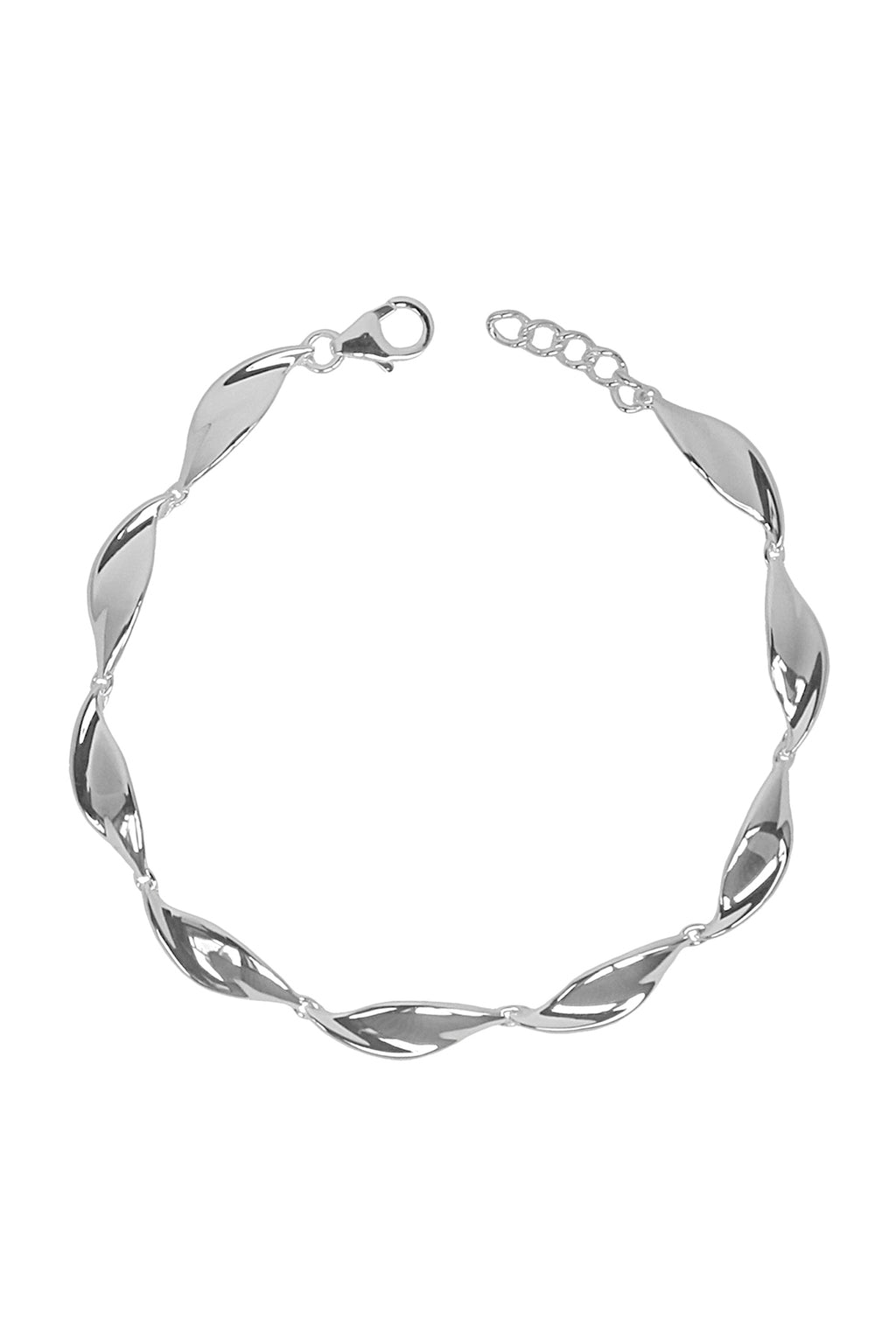 Polished Twist Silver Bracelet