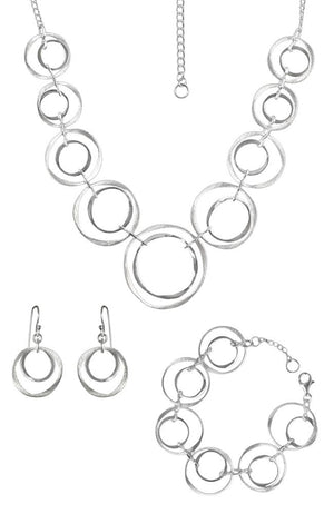 Crooked Circles Silver Necklace