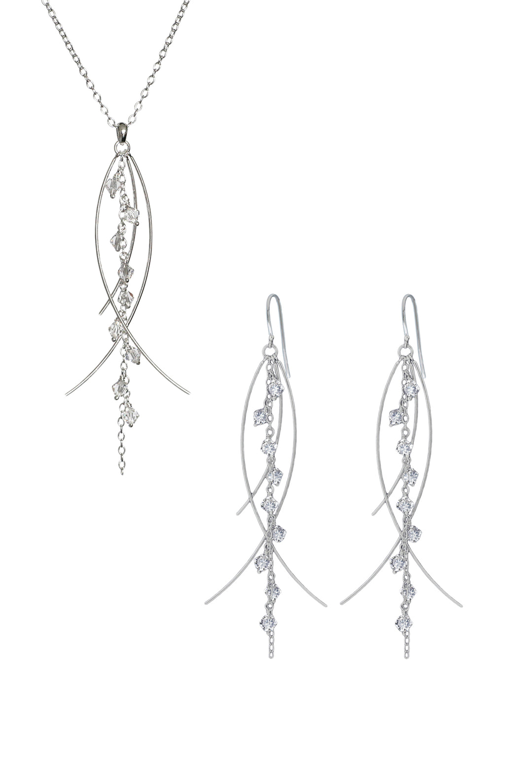 Silver crystal drop earrings and pendant | Nina B Jewellery