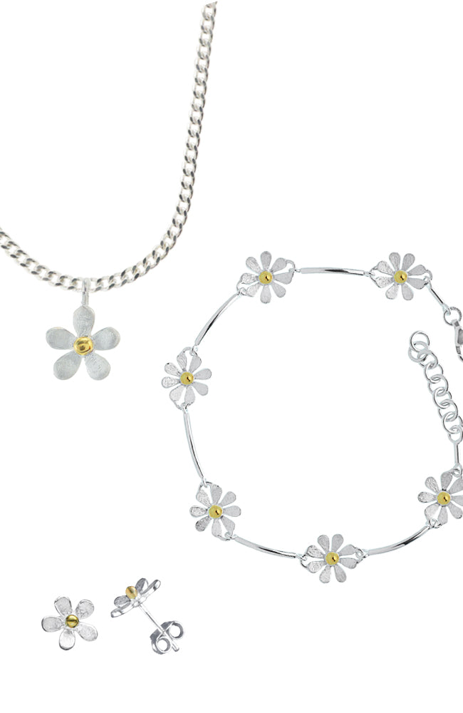 Brushed Daisy Chain Silver Set
